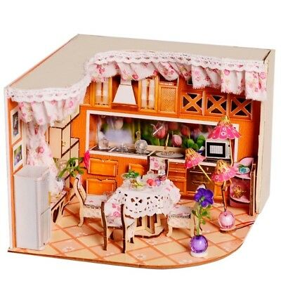 Dollhouse DIY Kitchen Room With Furniture 1:24 scale