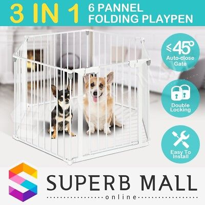 3-in-1 Metal Safety Playpen Baby Pet Divider with Double Locking System 6 Panel