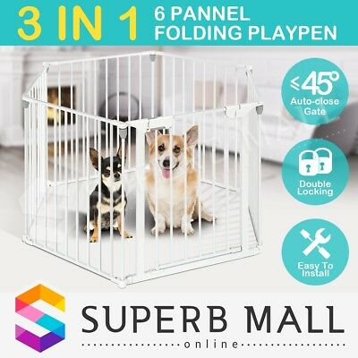 3in1 Metal Safety Playpen Baby Gate Pet Divider with Double Locking 6 Panel Room