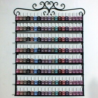 6-8 Tiers Hanging Nail Polish Wall Rack Wrought Iron Metal Display - Black/white