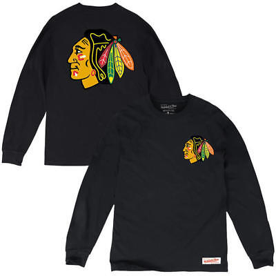 Chicago Blackhawks Mitchell & Ness NHL Triple Double Long Sleeve T-Shirt - Black