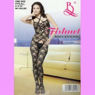 Super SeXy Body, Catsuit, Bodystocking, ouvert mit Muster, schwarz, Gr. S- L
