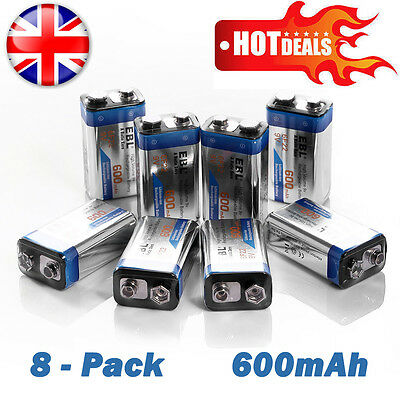 8-Pack 9V 600mAh PP3 9V 6F22  Block Heavy Duty 0% Mercury Rechargeable Battery