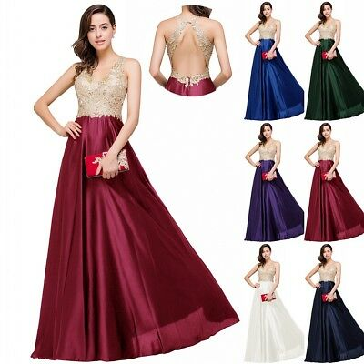 Formal Wedding Bridesmaid Long Evening Party Ball Prom Gown Tail Maxi Dress