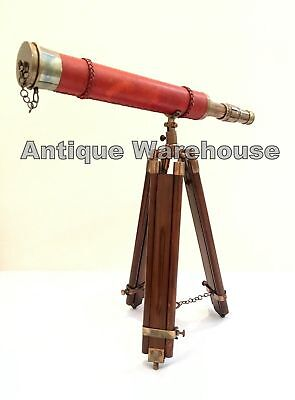 .Antique Brass Leather Wrapped Marine Ship Spyglass Telescope With Wooden Tripod