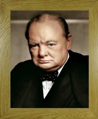 Sir Winston Churchill British Wartime Prime Minister Oak Framed Print Photograph