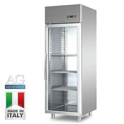 New Italian Made Upright Commercial Glass Door Fridge 700 Liters 304 Stainless