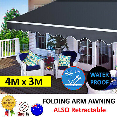 New OUTDOOR FOLDING RETRACTABLE ARM AWNING Grey Sunshade Canopy Shade Patio 4X3M