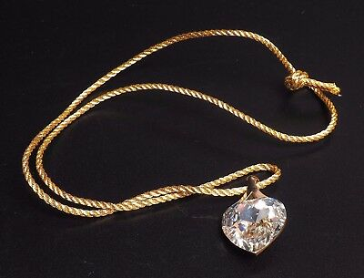 Swarovski Heart Pendant On Gold Rope/cord With Box
