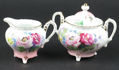 Vtg Japanese porcelain sugar bowl creamer set pink white gold hand painted