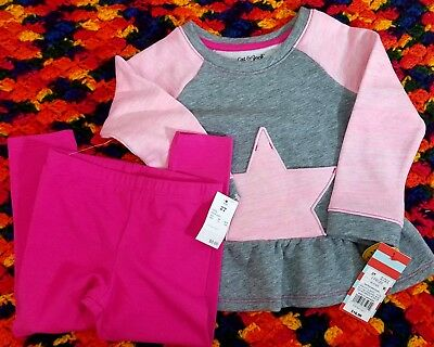Cat And Jack Toddler Girls 2Pc. Sweatpants Pink Gray/multi Pull Over Shirt 2T