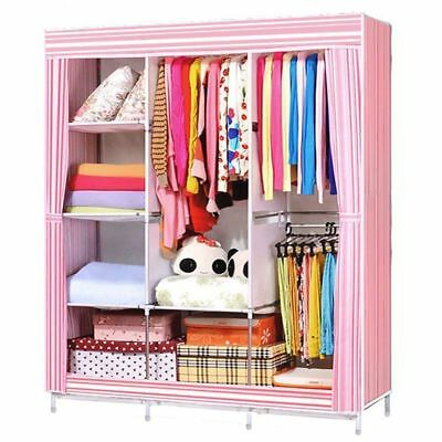Portable Clothes Storage Closet Home Organizer Shelf Wardrobe Rack Shelves 70