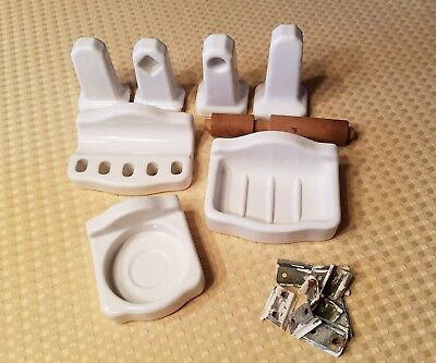 Antique White Porcelain Bathroom Soap Dish, Toothbrush, Toilet Paper Holders