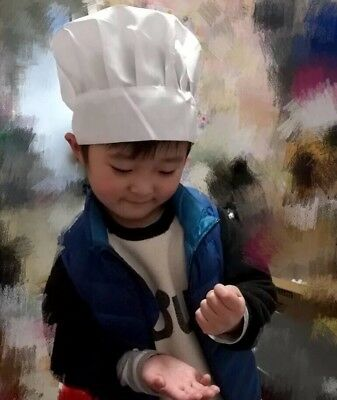 Kids boy girl child White Kitchen Cooking BBQ Restaurant Baker Chef Hat Cap prop