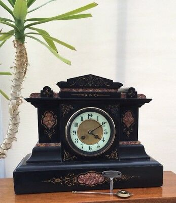 Antique Victorian Mantel Clock Slate & Granite by S Marti et Cie Paris c1890