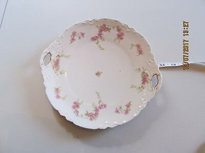 """M Z Austria  Cake Plate Platter Charger Double Handle Floral Hand Painted 11"""""""