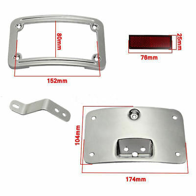 For Harley Softail Curved License Plate Frame Mount Bracket W/ Reflectors Chrome