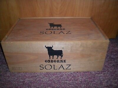 Nice Vintage Wood Osborne Solaz Wine Box Shipping Crate Carrier Black Bull