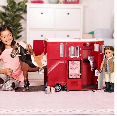 Our Generation Mane Attraction Horse Red Trailer Set Playsets With Accessories