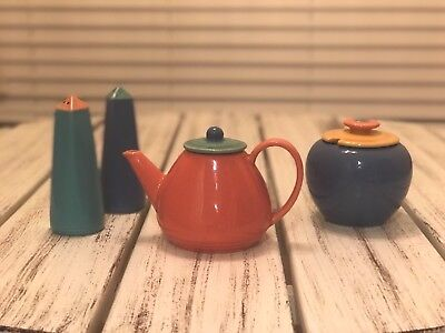 Vintage Lindt-Stymeist Colorways Tea Pot , Salt Pepper Shakers, Creamer Flawless