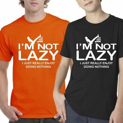 I Am Not Lazy Doing Nothing Top Mens Boys T Shirt Tee Shirt Crew Neck Lot