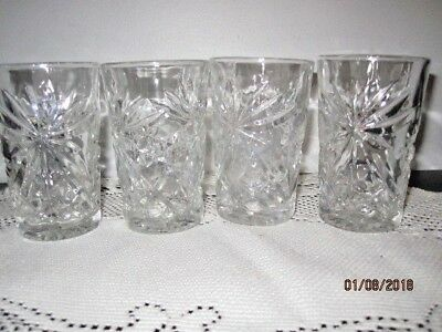 5 Anchor Hocking Early American Prescut / Star of David Juice Glass