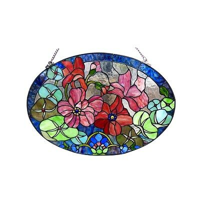 LAST ONE THIS PRICE  Handcrafted Roses Tiffany Style Stained Glass Window Panel
