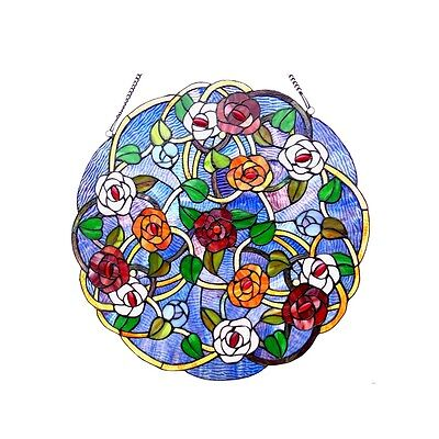 "Tiffany Style Floral Roses Stained Cut Glass 24"" Handcrafted Round Window Panel"