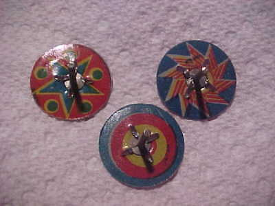 1930s Cracker Jack tin TOPS Penny Toy lot of 3