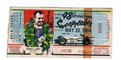 1964 Indianapolis Indy 500 Ticket Pass 48th Race Parnelli Jones 1963 Winner