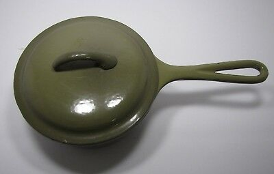 Pan Pot Cast Iron Sauce Pan Olive Green Vintage Collectible #239