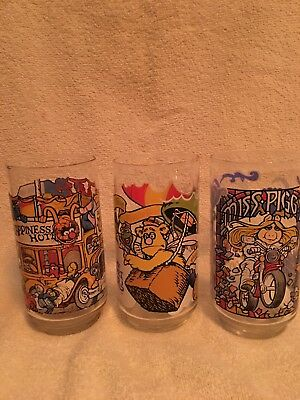 VINTAGE SET OF 3 THE GREAT MUPPET CAPER1981 MCDONALDS GLASSES excellent cond