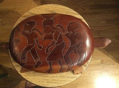 "Vintage Large 16"" Carved Wood Turtle Covered Bowl Top With Natives Haiti"