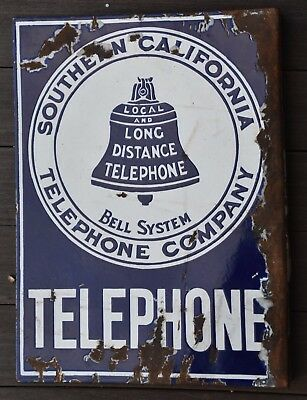 Southern California Telephone Company Bell System Porcelain Sign