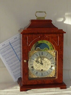 Hermle Walnut / Mahogany 3 Tune Triple Westminster Chime Moonphase Bracket Clock