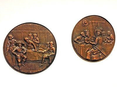 Two Huge Copper Wall Plaque Plates Knights antique German Historism Victorian