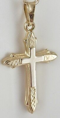 Vintage 14K Yellow & White Gold Stylized Cross Necklace Pendant