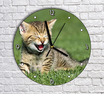 Cute Happy Kitty Kitten Cat On Grass - Round Wall Clock For Home Office Decor