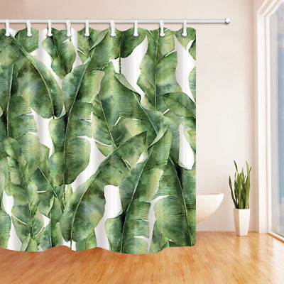 Watercolor Banana Leaves Waterproof Fabric Bath Shower Curtain Extra Long 84inch