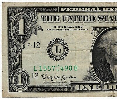 1963A $1 Federal Reserve Note ERROR Rolled/Stuck Digit No Reserve!