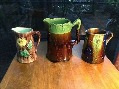 Antique German Black Forest Majolica Pitchers Set of Three(3)