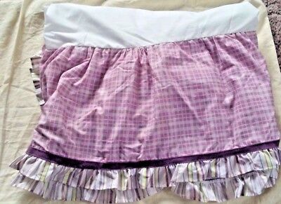 Cocalo Sugar Plum Purple Striped Checked Baby Crib Skirt Ruffle Nursery