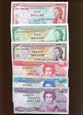 6 East Caribbean Currency Authority Banknotes 1965 $1, $5, $20 1988 $1, $10, $20