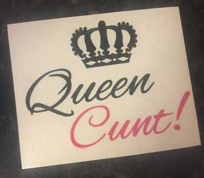 2 x Queen C**t Decal vinyl stickers for Wine Glasses Gift Valentines