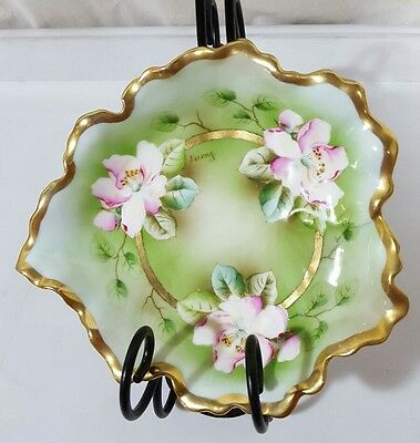 Hand Painted Royal Munich Z.S & Co Artist Signed Lerong Trinket Bowl c1880-1918