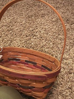 "Longaberger basket 9.5""x6.5""x4.5"" initialed 1992 with liner red & blue"