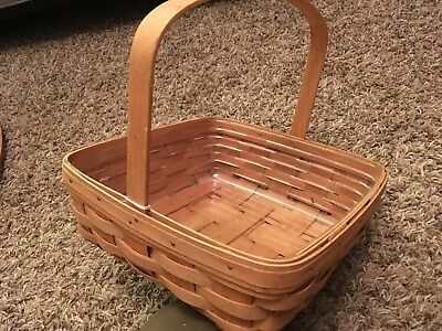 "Longaberger basket initialed 11""x11""x4.5"" with liner 1992"