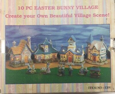 Easter Bunny Village 10 Piece Light Up Houses Bunny Rabbits