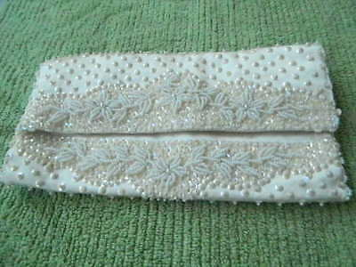 Vintage OFF WHITE Beaded & Sequin evening bag, clutch Fold-over