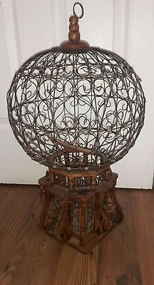 Vintage Victorian Antique Hot Air Balloon Wood & Wire Large Hanging Bird Cage